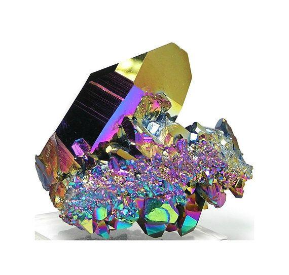 Rainbow Aura Peacock Quartz Crystal - God obviously loves color.