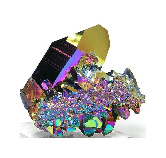 Rainbow Aura Peacock Quartz Crystal Cluster from by FenderMinerals,