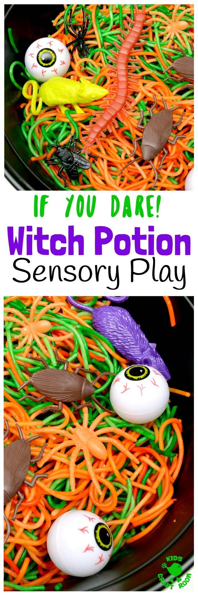 WITCH'S POTION HALLOWEEN SENSORY PLAY IDEA - Have you got a little witch or wizard with a love for the YUK? Kids will be spellbound getting hands on with this fun Witch's Potion Halloween Sensory Play Activity!   via @KidsCraftRoom