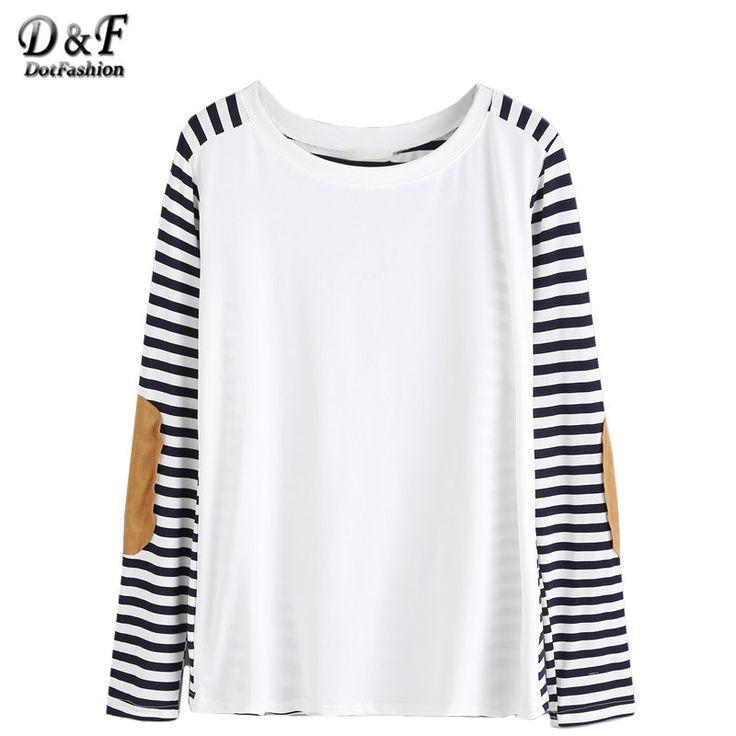 clothes women shirt famous women long sleeve t shirt fall t shirts elbow patch striped t - White T Shirt Design Ideas