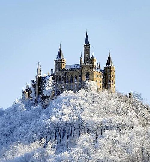Schloss Hohenzollern (Hohenzollern Castle) 72379 Burg Hohenzollern, Hechingen, Baden-Wurtemberg, Germany....  http://www.castlesandmanorhouses.com/photos.htm ...  Hohenzollern Castle is the ancestral seat of the Hohenzollern family, who became German Emperors.  In 1945 it became home to the former Crown Prince Wilhelm of Germany, son of the last Hohenzollern monarch, Kaiser Wilhelm II, who is buried there with his wife, Crown Princess Cecilie.