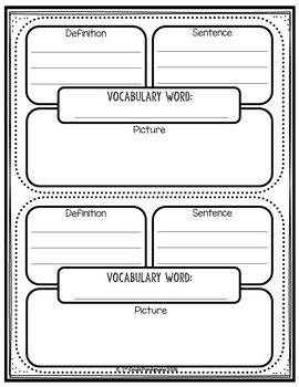 Vocabulary Notebook by 1st Grade Pandamania   Teachers Pay Teachers