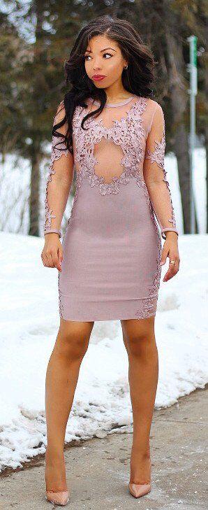Tan Lace Dress / Nude Pumps