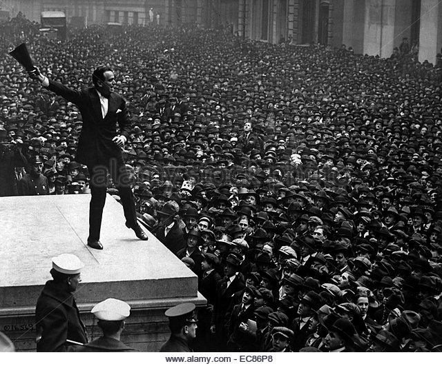 Photograph of Douglas Fairbanks at the Third Liberty Loan rally for funds. Dated 1918 - Stock Image