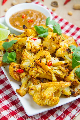 Roasted Cauliflower Satay with Spicy Peanut Dipping Sauce by Closet Cooking