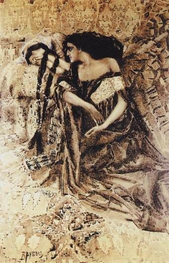 """Tamara and Demon"",1890-1891, Mikhail Vrubel. Illustration for M.Lermontov's poem ""Demon""."