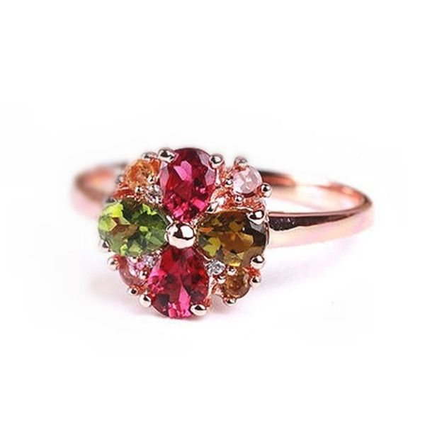 Fabulous Unique Rose Gold Plated Silver Tourmaline Flower Cocktail Ring [100425] - $82.99 : jewelsin.com