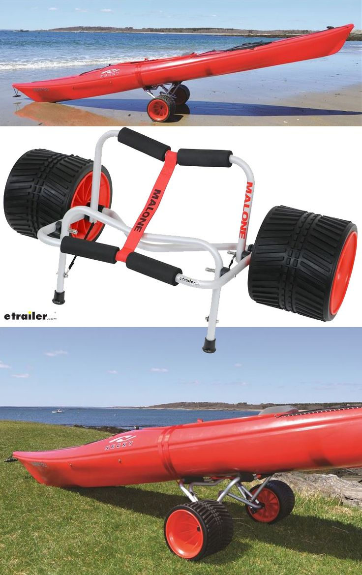 Make toting your kayak or canoe to the beach an easy task with the Malone Xpress Scupper kayak and canoe cart. This cart features 150 lb cargo capacity, airless, never-go-flat tires and removable foam block.