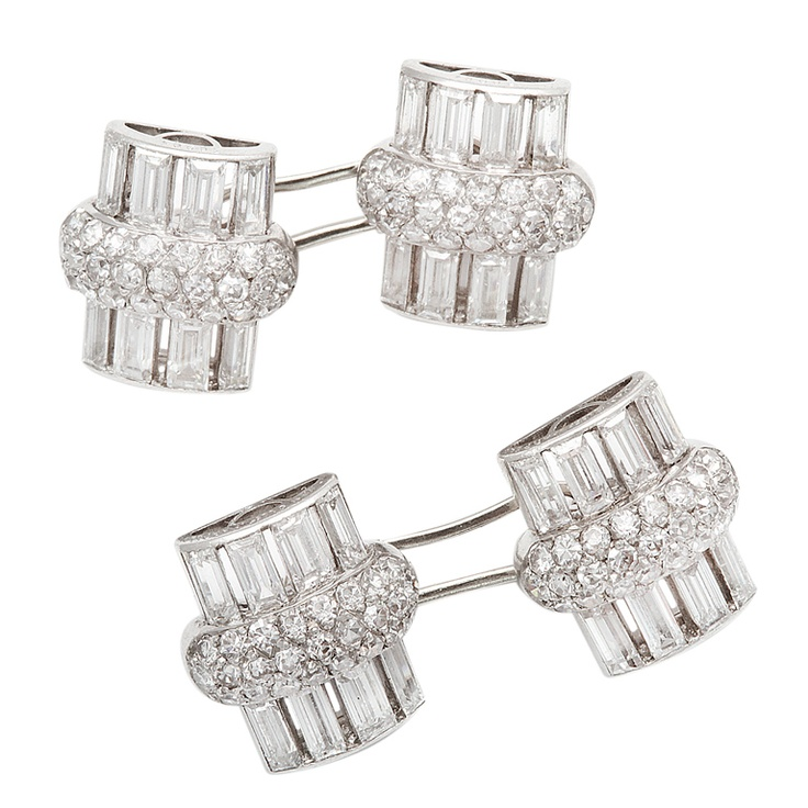 VAN CLEEF & ARPELS Art Deco Diamond  Cufflinks  via blossomgraphicdesign.com on Pinterest