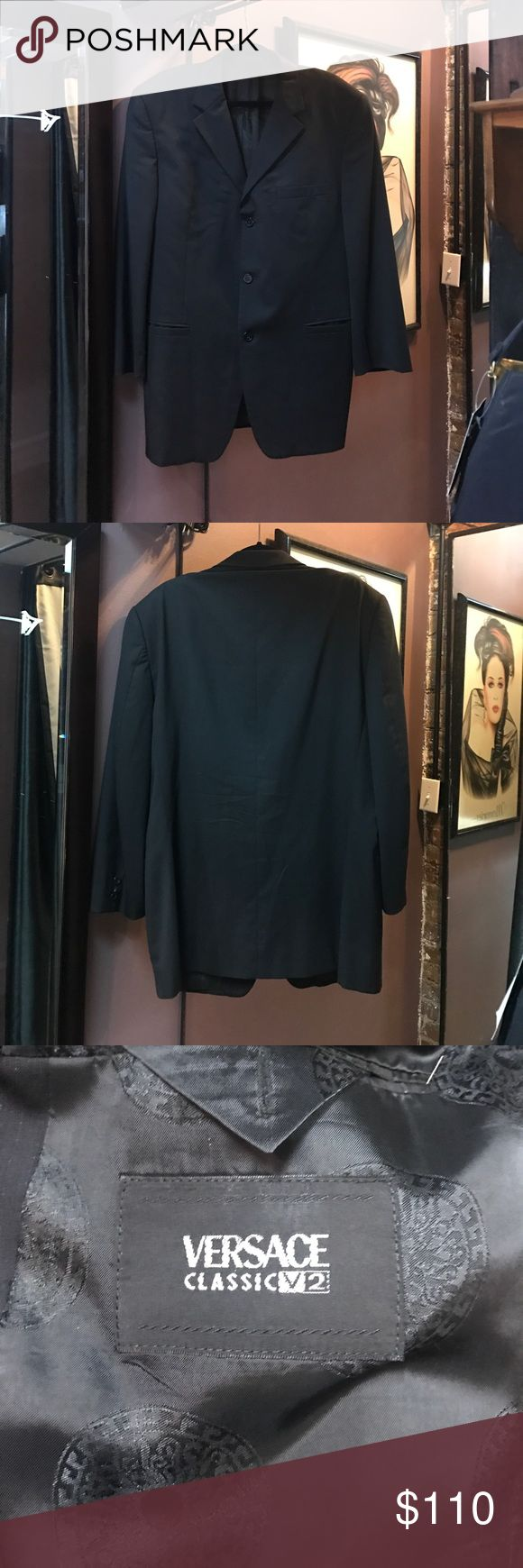 Versace Classic V2 black wool suit jacket Versace Classic V2 black wool suit jacket. Amazing vintage condition. Only flaw is about an inch of stitch on lining is a bit loose. Not torn though. And one of the cuff buttons is broken. An easy fix. An iconic vintage piece. It was custom made so no size but I believe it's 44S. Please enquirer about measurements! Versace Suits & Blazers Sport Coats & Blazers