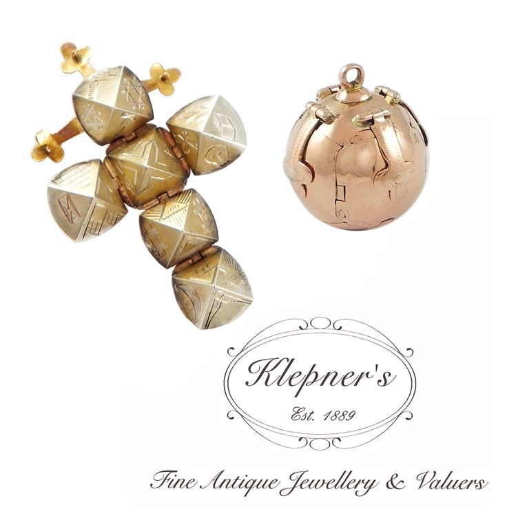 9ct pink gold & sterling silver antique Edwardian Masonic Ball fob charm & pendant.  Visit us at www.klepners.com.au
