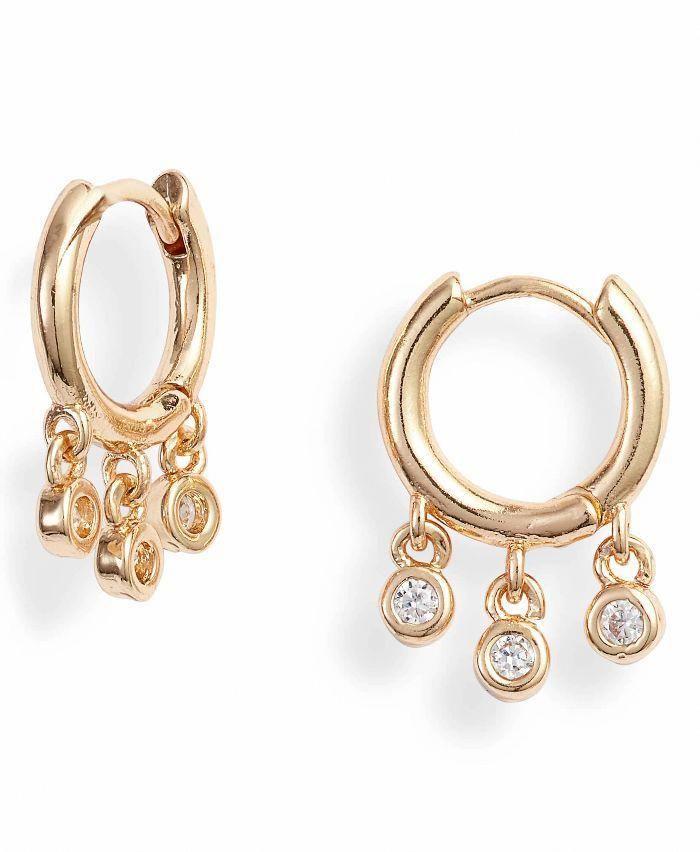 Yellow Gold Filled Diamond Lady Women Earrings Classic Slim Ring Huggie Silver