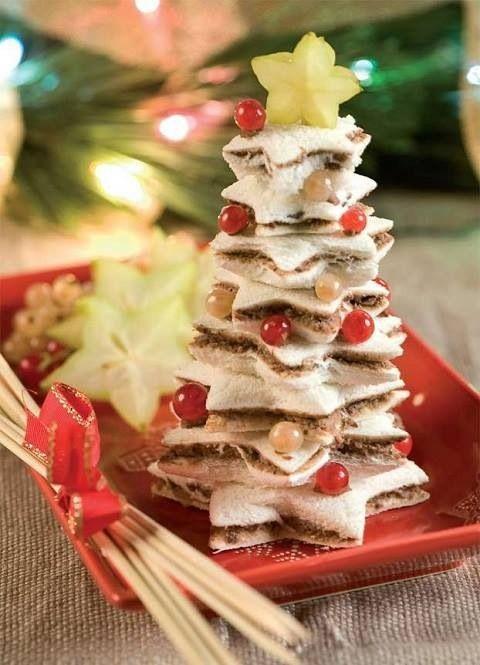 Natale - Dolce a forma di stella con Pan Carré e Nutella