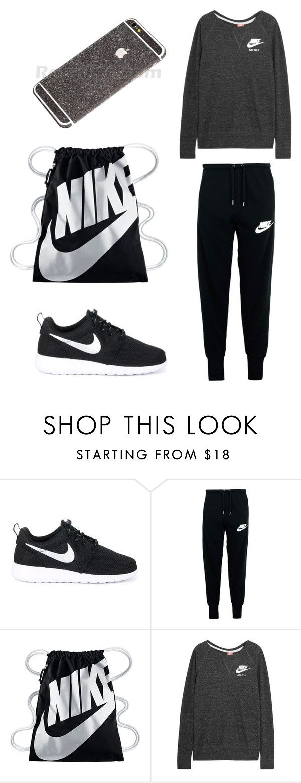 Black Athletic Outfit by retailite on Polyvore featuring NIKE