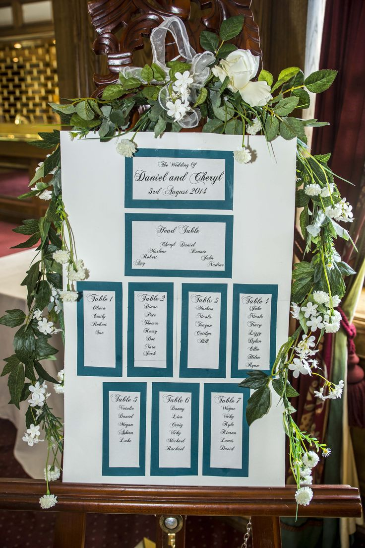 Seating plan designed with flowers.