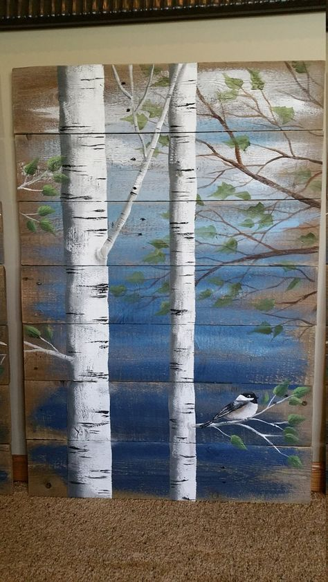Pallet white birch wall decor Painting 4 by TheWhiteBirchStudio painting on reclaimed wood.