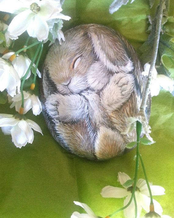Sweet sleeping, baby bunny, painted rocks, original, collectables by Shelli Bowler