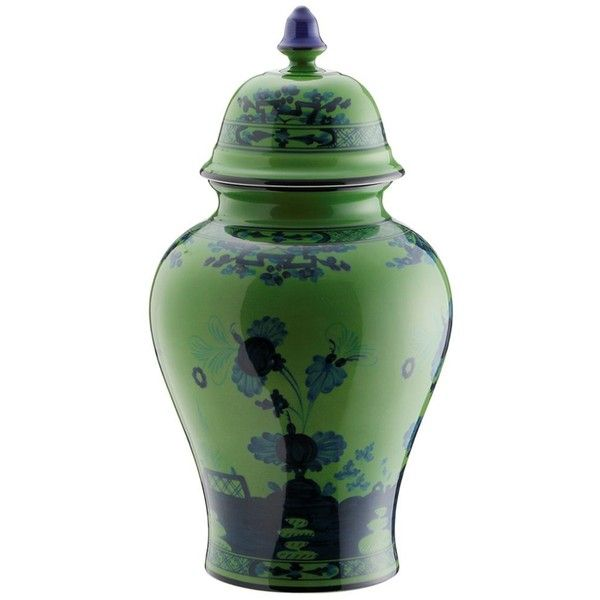 Richard Ginori 1735 Home Oriente Italiano Porcelain Vase With Lid (€405) ❤ liked on Polyvore featuring home, home decor, vases, green, asian porcelain vases, colored vases, asian home decor, oriental vase and green home decor