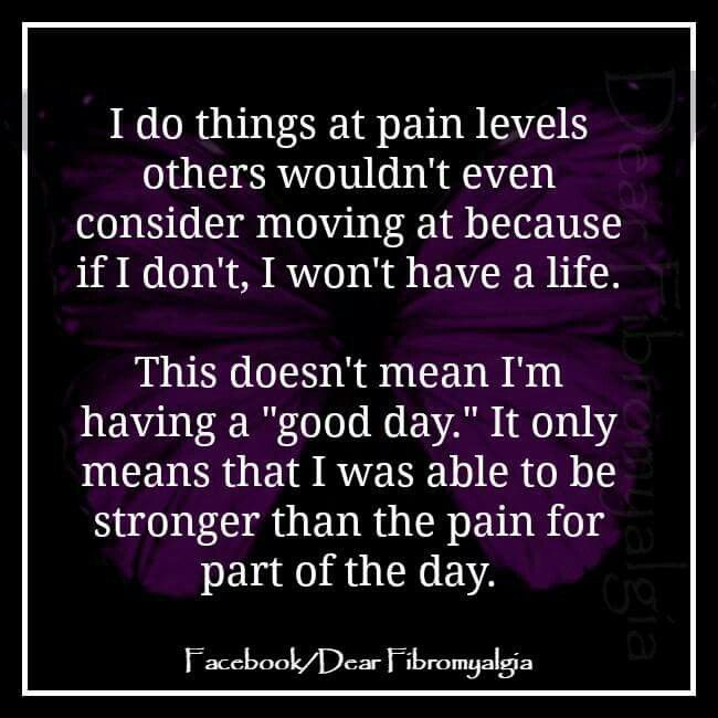This is what most people dont understand...they think there is no way she is in the pain she says doing what she does. No i just have to live through it!