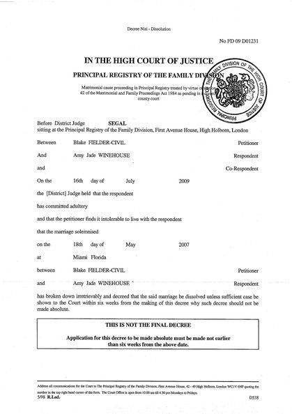 certificate divorce