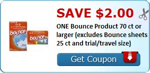 New Coupon!  Save $2.00 ONE Bounce Product 70 ct or larger (excludes Bounce sheets 25 ct and trial/travel size) - http://www.stacyssavings.com/new-coupon-save-2-00-one-bounce-product-70-ct-or-larger-excludes-bounce-sheets-25-ct-and-trialtravel-size/