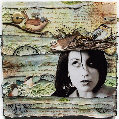 Amazing! Bezsenność - Insomnia: Scrapbook Art Journals, Canvas Layout, Collage Ideas, Scrappy Ideas, Scrapbook Everything, Collage Canvas, Mixed Media Canvas, Scrapbook Layout, Mixed Media Art