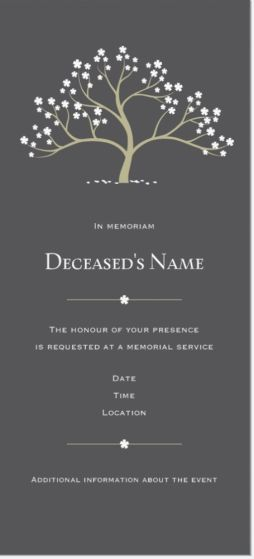 "Why You'll Love Taupe Memorial Service Vertical Flat Invitations - 4""x8"""