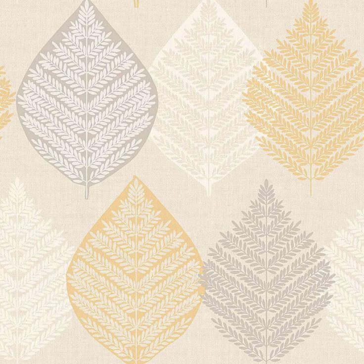 Ochre Leaf Motif Wallpaper   Dunelm