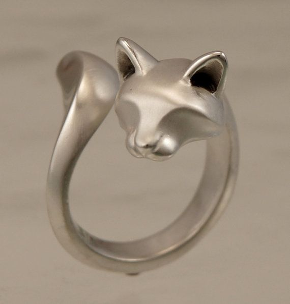 forrest cat ring  silver by Michaeltatom on Etsy, $145.00  I love love love the satin finish on this!