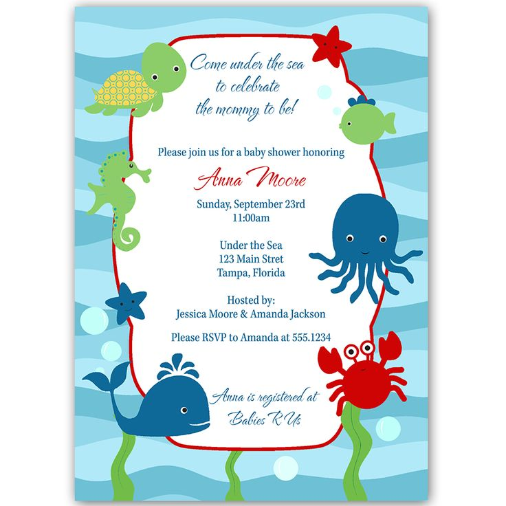 Invite Guests To Your Baby Shower With This Fun Nautical Themed Invitation  Featuring Wavy Sea Stripes