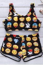 Fashionable Emoji Print Scoop Neck Bikini Set For Women (BLACK,XL) | Sammydress.com Mobile