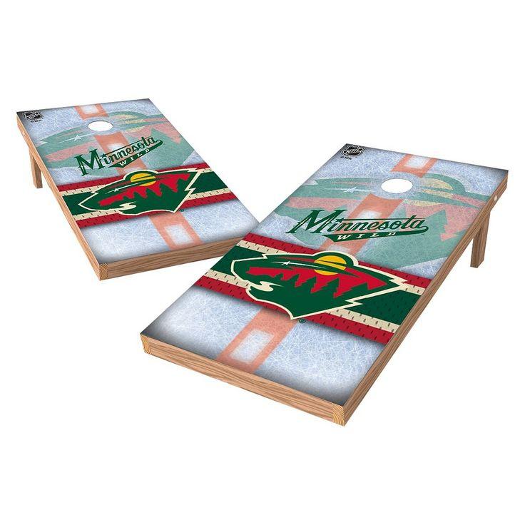 NHL Wild Sports Shield Cornhole Bag Toss Set - 2x4 ft. - Minnesota Wild