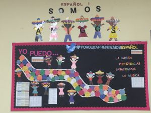 bulletin board in a world language spanish classroom. Can do statements