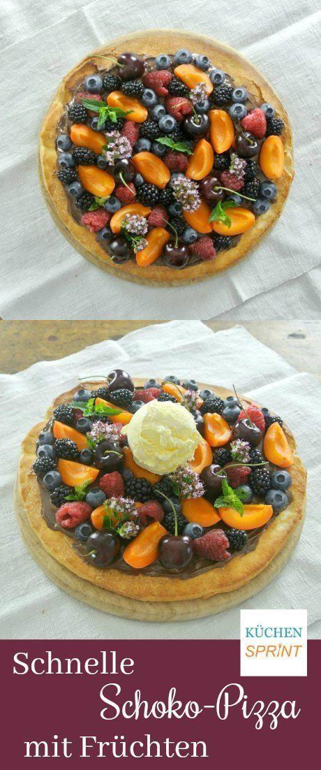 Schnelle Schoko-Pizza mit Früchten – #Früchten #mit #Schnelle #SchokoPizza – #…