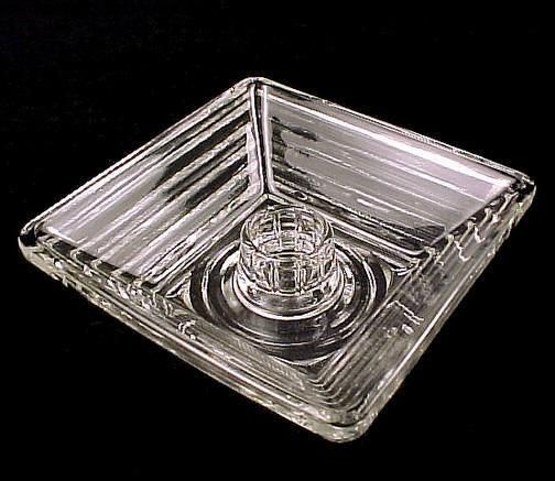 Manhattan Square Candle Holder Anchor Hocking Glass. Clear Depression Glass, Horizontal Ribs, Holds a Taper Candle.