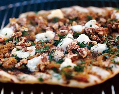Caramelized-Onion and Gorgonzola Grilled Pizza Recipe   Epicurious.com
