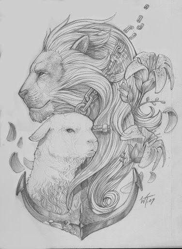 lion and lamb tattoo design Tattoo Design 7