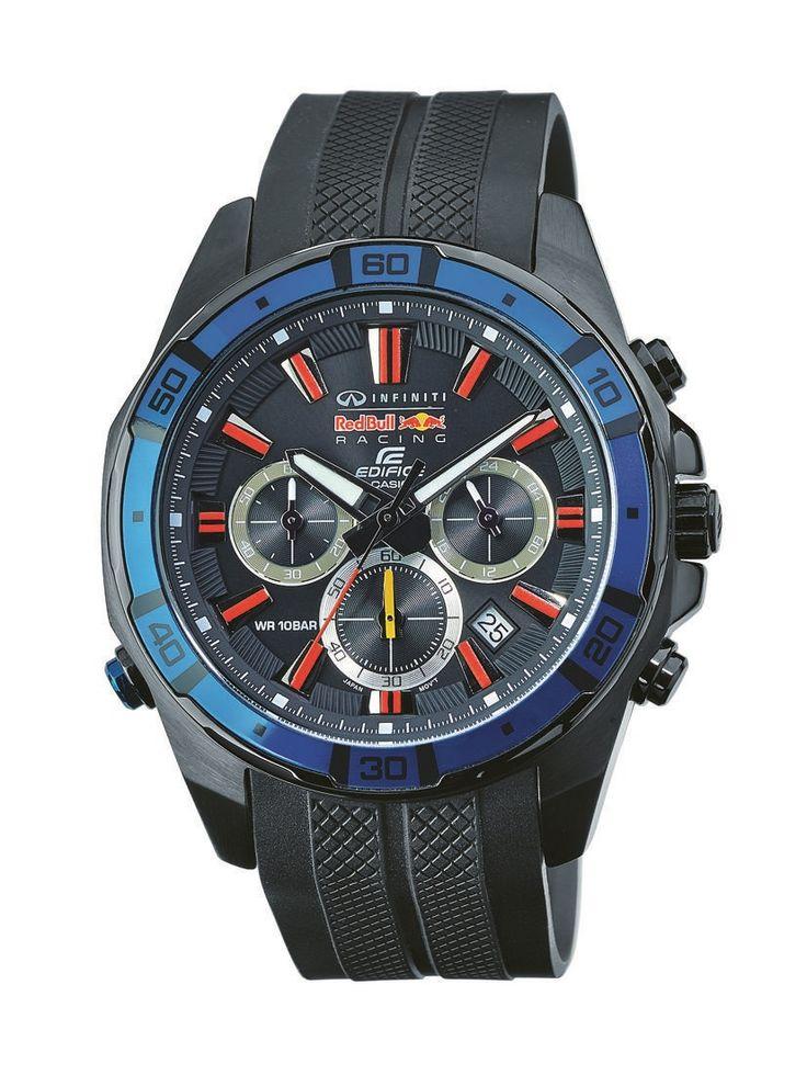 Casio Edifice Red Bull Racing EFR-534RBP-1AER férfi karóra. 46 mm-es óratokkal ellátott Casio Edifice Red Bull Racing férfi karóra. Fekete tokkal és csattal, fekete számlappal, kék kontúrral, piros jelzésekkel ellátott markáns megjelenésű óra. Vízálló, stopperrel és LED világítással is rendelkezik. KATTINTS IDE!