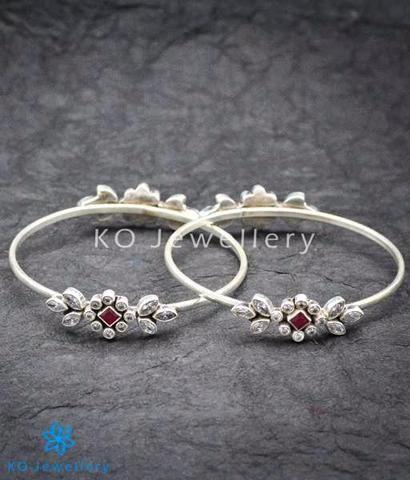 The Prateek Silver Gemstone Bangles    #bangle #puresilver #silver #wedding #bridal #indian #ethnic #KOJewellery #bling #festive