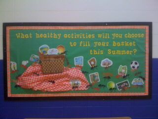 Nice end of Year Board.....a change would be ______ was a picnic & showcase student work