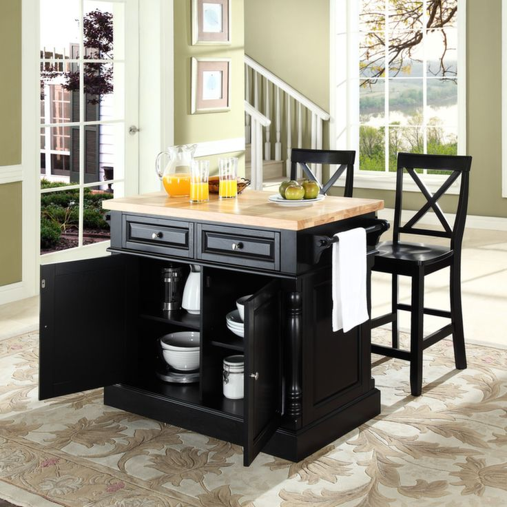 Butcher Block Top Kitchen Island In Black Finish With 24 X Back Stools