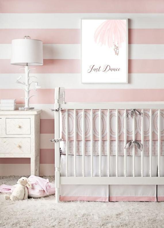 Just Dance Pink Tutu Ballet Print Ballerina Nursery Wall Art Etsy In 2021 Girl Nursery Wallpaper Pink Striped Walls Striped Nursery