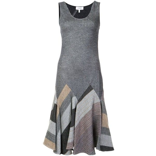 Derek Lam 10 Crosby Flared Patchwork Dress ($595) ❤ liked on Polyvore featuring dresses, grey, grey flare dress, multi colored dress, flare dress, colorful dresses and multi color dress