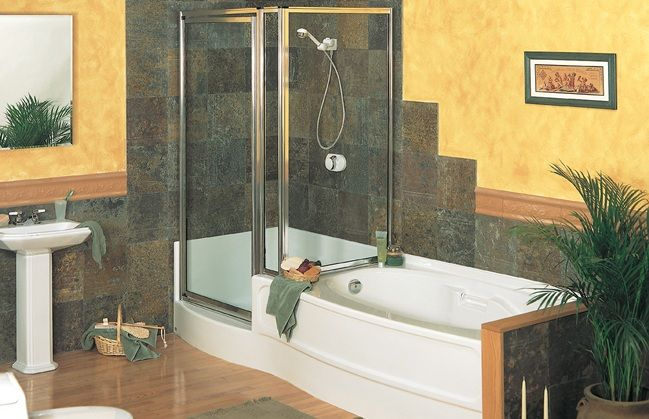 Side by side shower tub bathroom renovations pinterest for Low height bathtub