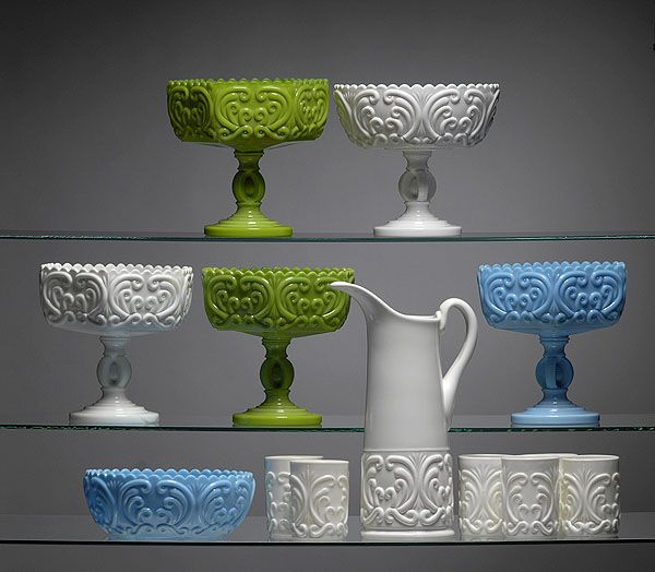 Challinor, Taylor & Co. Green Opaque and Milk Glass Scroll Compotes and Water Set, - Cowan's Auctions