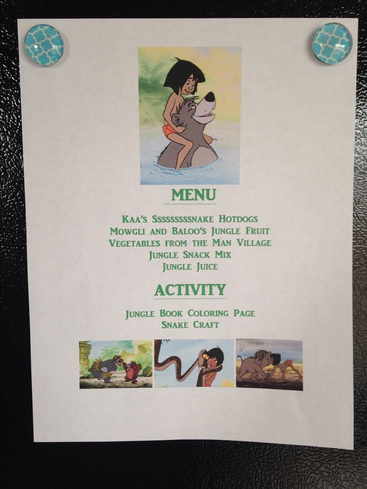 The Jungle Book Menu - The Jungle Book Movie Night - Disney Movie Night - we also had King Louie's Monkey Bread but forgot to put it on the menu - Family Movie Night