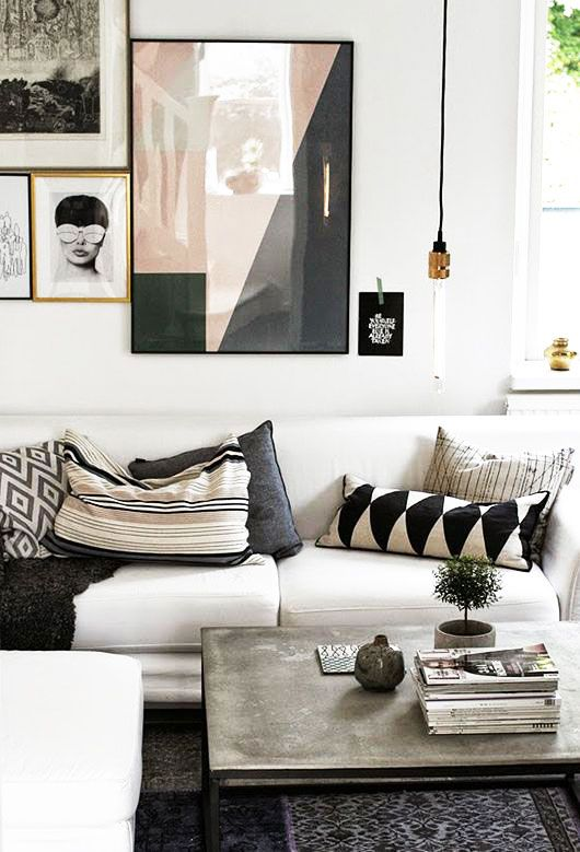 Pastel Artwork Black And White Decor Neutral Living Room Bohemian Modern Gallery Wall