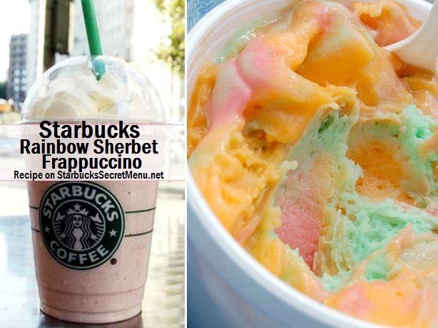Starbucks Rainbow Sherbet Frappuccino! #StarbucksSecretMenu Recipe here: http://starbuckssecretmenu.net/starbucks-secret-menu-rainbow-sherbet-frappuccino/