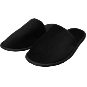 Black Terry closed Toe Slippers Are Made From 100% Absorbent Top Quality  Natural Cotton.