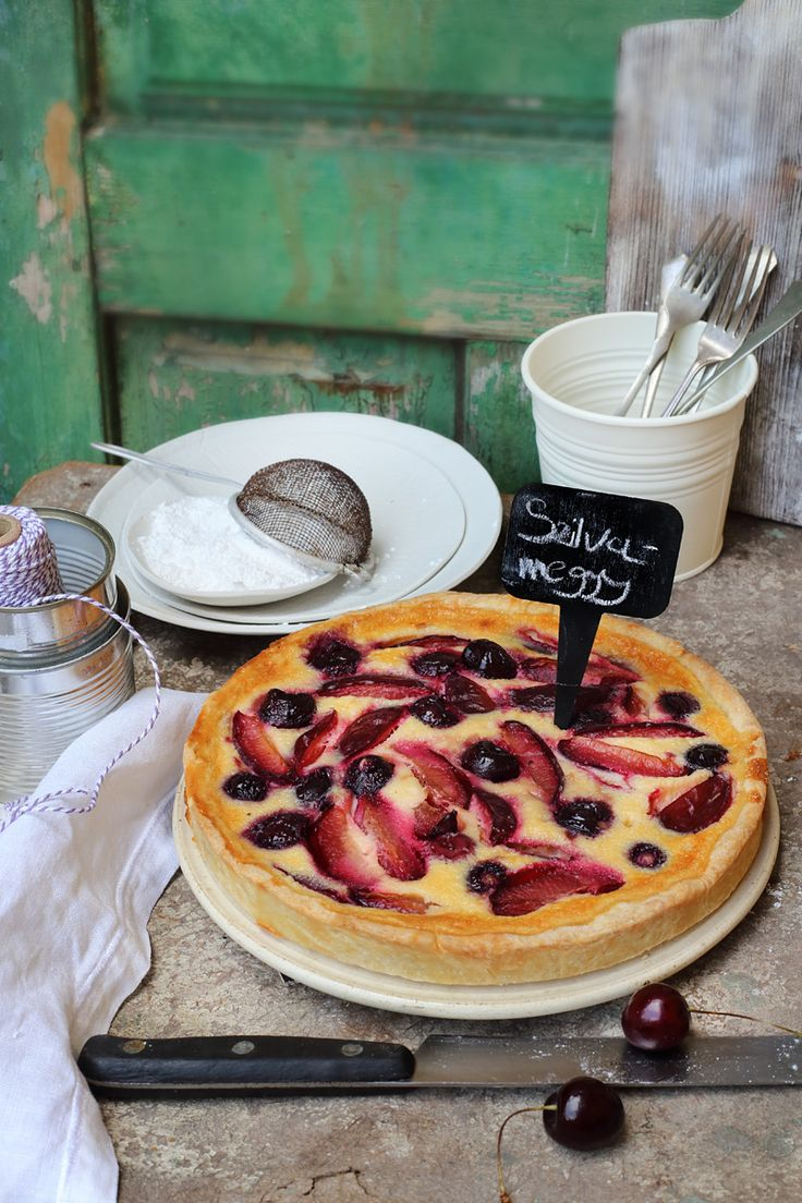 plum and sour cherry mascarpone pie / Zita Csigó Photography&Styling